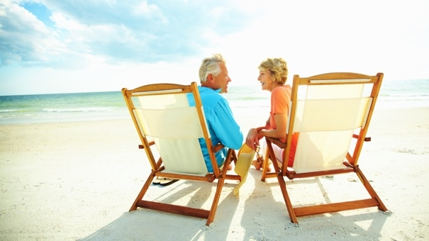 Couple enjoying their golden years on the beach